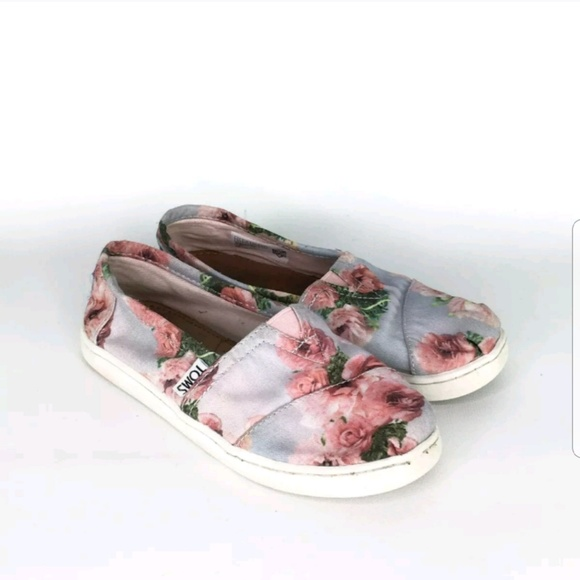 Toms Other - TOMS Floral Roses Shoes Sneakers Girls Size 13.5